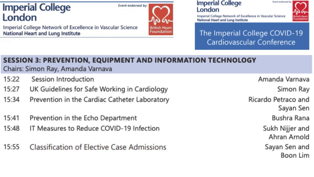 COVID-19 Imperial College Cardio Conf E3: Prevention, Equipment and IT