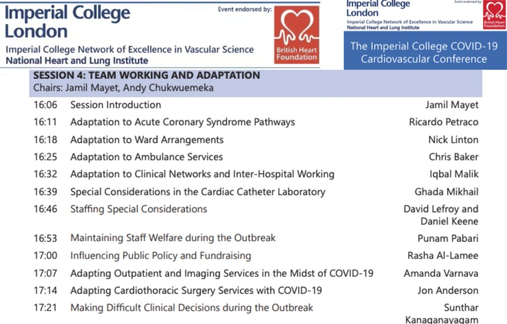 COVID-19 Imperial College Cardio Conf E4: Team Working and Adaptation