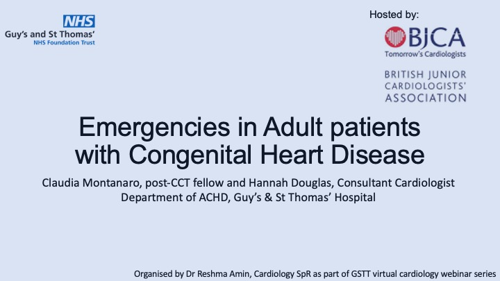 Emergency Presentations in Adult Congenital Heart Disease – Dr Claudia Montanaro