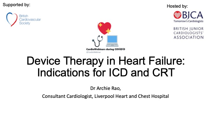 Device therapy in HF: Indications for ICD and CRT
