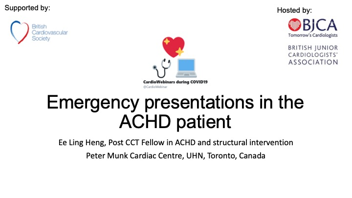 Emergency presentations in the ACHD patient- Dr Eee Ling Heng