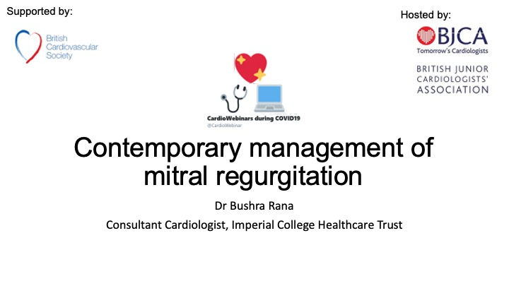 Contemporary management of mitral regurgitation- Dr Bushra Rana