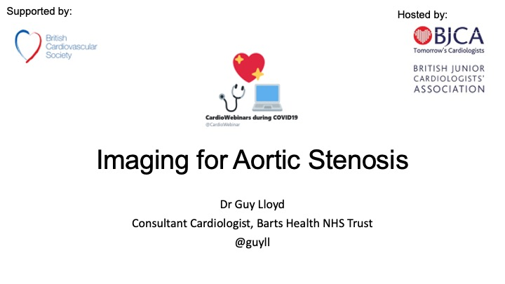 Imaging in Aortic Stenosis by Dr Guy LLoyd