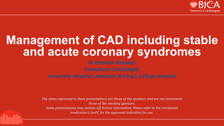 EEGC CONTENT: Management of CAD including stable and acute coronary syndromes