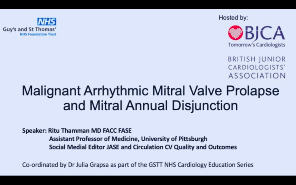 Malignant Arrhythmic Mitral Valve Prolapse and Mitral Annual Disjunction