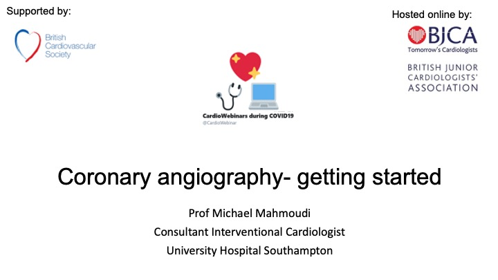 Coronary angiography- getting started
