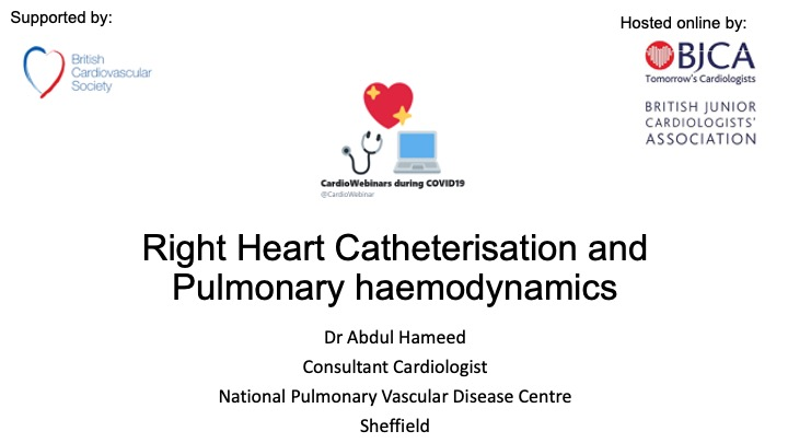 Right Heart Cath + Pulm Haemodynamics